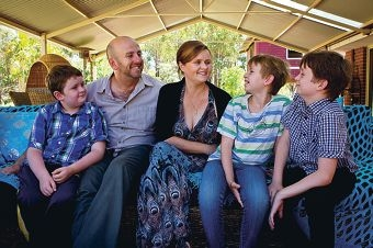 Jonathan and Dee Marlow with sons Lachie, Andrew and Jordie.