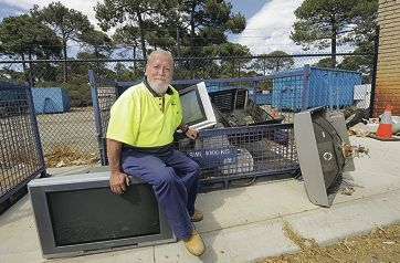City of South Perth Collier Park Waste Transfer Station operator Tom Reynders with some verge collection refuse. Picture: Elle Borgward d396220