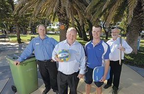 Waste Collection co-ordinator Paul Molony, manager of community and leisure Nick Brown, Rockingham Aquatic Centre duty manager Todd Matthews and Parks and Operations co-ordinator Peter Griffiths.