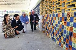 May Sharp and Rohullah Jafari, Year 12 head girl and boy, with Peter McKerracher of Rotary International and principal Wayne Austin inspecting the Peace Wall. Picture: Dominique Menegaldo d395982