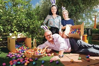 Colin Woodward, Anne Graydon and Teagan Brown from Foodbank with some of the Cadbury Easter eggs which were donated to them by Cadbury.