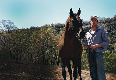 Troy van Heemst with Balmont, one of the stallions he moved to safety from the fire.