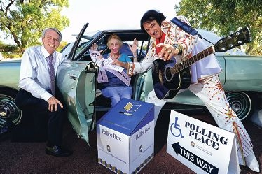 Western Australian Electoral Commissioner Warwick Gately with voter and Mount Claremont resident Dot Wylie (89) and Elvis Presley [NAMES OK]