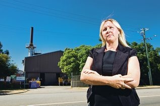 Jane Bremmer (chairperson - Alliance for a Clean Environment) out the front of SITA Medicollect Incinerator)