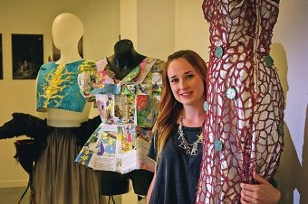 Meg-Isabella Hewett with two of her pieces in the exhibition.