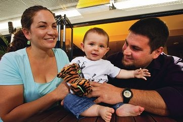 Feeding mothers welcome: High Wycombe tavern manager Rob Cinanni with wife Tracey and their seven-month-old son Hayden.