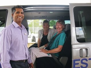 Sanjay Prag and Sue Dash take Joyce Tye (right) to her cancer treatment.
