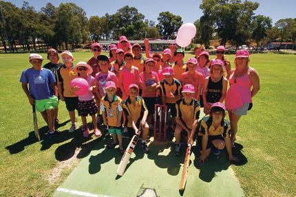 Wanneroo Junior Cricket Club members raised more than $1000 for the McGrath Foundation on Pink Stumps Day. Picture: Matt Jelonek www.communitypix.com.au d395779