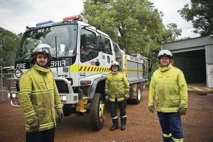 Volunteer firefighters Reuben Davies, Troy Miller and Andrew Waddington. Picture: Louise White d397554