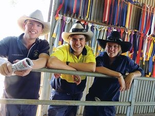 Year 12 Narrogin Agricultural College students Edward Ironside, Luke Bonnell and Amelia Quaife.