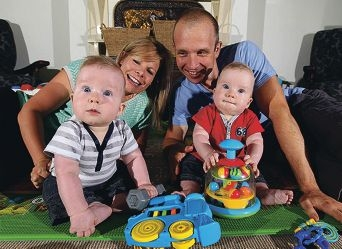 Claire and Hayden Clark with eight-month-old twins Ben and Mitchell. Picture: Dominique Menegaldo www.communitypix.com.au d397335