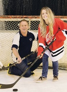 Mike Summers (assistant manager Cockburn Ice Arena) with Georgia Hurst (Attadale)