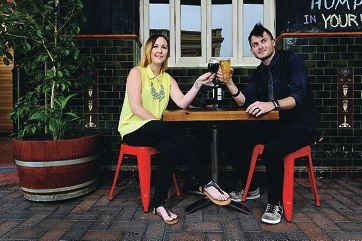 Ella-Maree Chambers and Tim Smith enjoy a daytime drink at the Leederville Hotel.