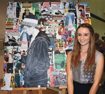 Tranby College graduate Sophie Wall with her winning artwork Disconnected.