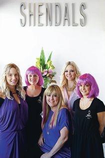 Hairdressers Pip Travia,Katie Williams,Kendal De Graaf,Rachel Diaz and Amy Parkella go purple.