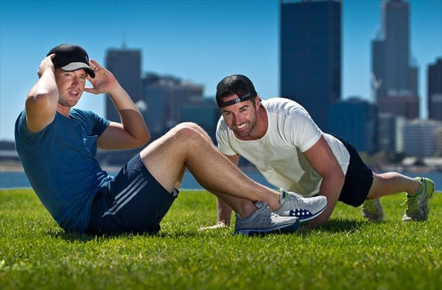 Josh Bond and Greg Wood are determined to do their best in the challenge. Picture: Matthew Poon www.communitypix.com.au d397068