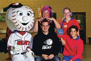 Greatest shave: Heat Flash, GM of Perth Heat Alex Pellerano, teacher Marama Spina and students Mikaela Watkins and Julian Abrahams. Picture: Matthew Poon d397311