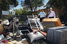 Dirty shame...community safety ranger Dale Wright and Stirling Mayor David Boothman inspect the dumped rubbish.
