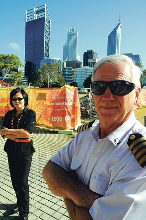 Ferry captain Bill Edgar and Café Paz operator Florence Chew say construction at Elizabeth Quay is hurting business.