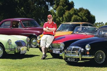 MG Car Club of WA club captain Iain Trainor with some of the cars for the show.