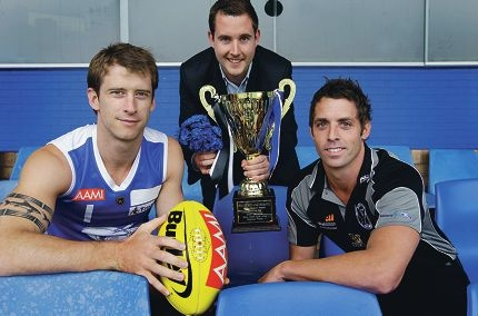 East Fremantle footballer Mark McGough, Motor Neurone Disease Association of WA executive officer Mathew Brown and Swan Districts footballer Shaun Hilderbrandt. Picture: Martin Kennealey www.communitypix.com.au d397480