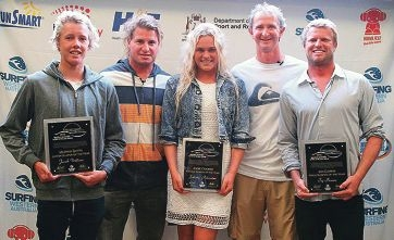 Jacob Willcox, Felicity Palmateer and Taj Burrow hold their awards, with champions Mark Occhilupo and Mark Richards. Picture: Surfing WA/Woolacott.