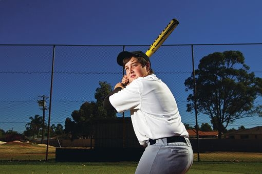 Talented baseballer Tom Mewburn loves to bat.