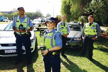 No escape: Snr Const Bevan Rankin, Const Leah Daly, Det Sgt Rob Witt and Det Sen Sgt Craig Micale are armed and ready to keep motorists within the law this Easter break. Picture: Andrew Ritchie www.communitypix.com.au d397789