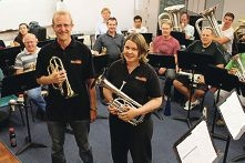 Sarah Draper and Ben Noonan (front) with other brass band members. Picture: RASWA Brass