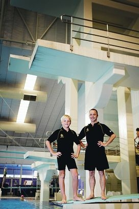 Divers Owen Crofts and Warwick Norman are looking forward to the age championships this weekend. Picture: Andrew Ritchied397223
