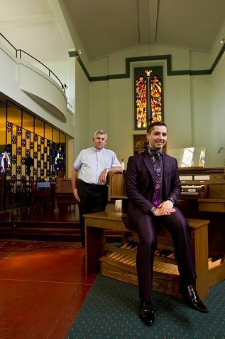 Organist Alessandro Pittorino with Reverend John Meagher of St Mary's Anglican Church.