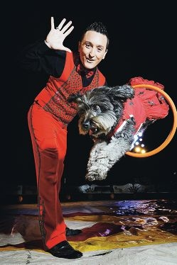 New act: Circus owner and ringmaster Damian Syred and friend.