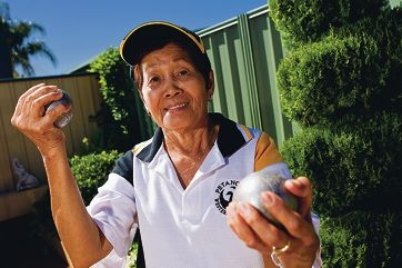 Petanque player Fe Fontanini, a member of the winning WA team in Sydney, was given a $200 grant by the council to help defray her costs. Picture: Matthew Poon www.communitypix.com.au d398307