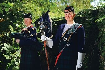 Presbyterian Ladies' College Year 12 students, from left, Pipe Major Isobel Martin (17) and Drum Major Madeleine Lofthouse are heading to Virginia to take part in the International Tattoo. Picture: Marcus Whisson www.communitypix.com.au d397913