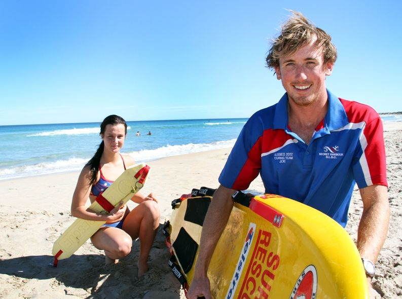 Secret Harbour's national surf lifesaving medal hopes Jesika Bussey and Joe Ford at their home break. Picture: Robin Kornet d398547