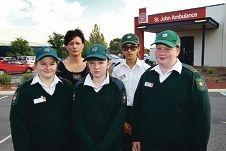 Parent Kim Hogan with upset cadets Renee Kappler, Shelley Kappler, Gabrielle Hogan and Heather Thomas. 398747