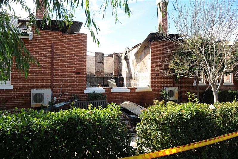 A picture taken of the school after the fire was extinguished.