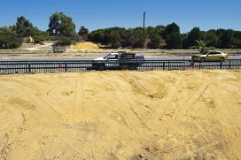 The pedestrian underpass was permanently filled with sand and concrete. Picture: Emma Reeveswww.communitypix.com.au d398997