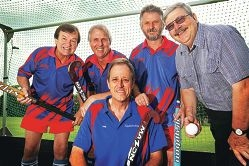 Kalamunda Hockey Club members Peter Evans, Kevin Taylor, Jeff Hortin, Dennis Wills and Phil Fawell (front). d398894
