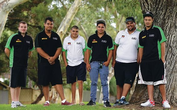 Luke Biasulli-Wilson, Brandon Michael, Lewis Abdullah, Rhys Bennell, Angus Yarran and Reegan Woodley from HALO before they left for the conference. Picture: Martin Kennealey www.communitypix.com.au d399047