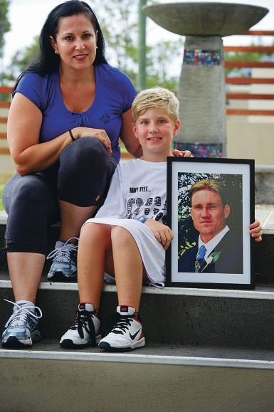 Gordana Stolp and seven-year-old Jett will honour Mark's brave commitment to undertake the Step Up for MS Stair Climb on Sunday. Picture: Emma Reeves d399251
