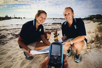 Teagan Goolmeer and Rebecca Chaffer, from the RIA Community Engagement Team, getting ready for the Geocache Challenge at Rottnest Island. Picture: Andrew Ritchie d399152