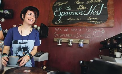 Lara Wolinski, manager of The Sparrow's Nest, has started the practice of suspended coffees at the cafe. Picture: Martin Kennealey www.communitypix.com.au d399157