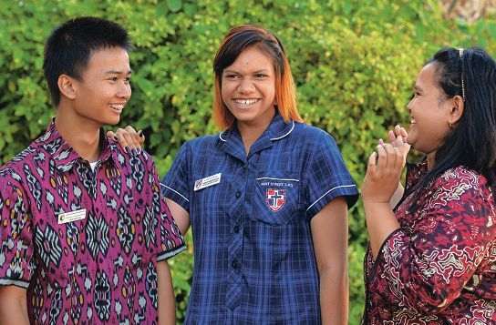 Putu Kevin Anantha Wijaya (Year 10, Bali), Dakota Morrison (Year 11) and Gita Pratiwi (Year 10, Bali). Picture: Elle Borgward