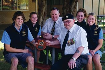 Students Callan Innes and Annie Roussel, head of senior school Gary Young, Bob Snape from North Beach RSL and students Jessica Mann and Amy Evans.