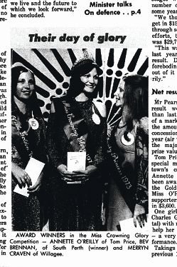The Listening Post, November 1973, Page One. South Perth's Beverly Brennan was awarded Miss Crowning Glory. The competition was run with the support of Legacy.