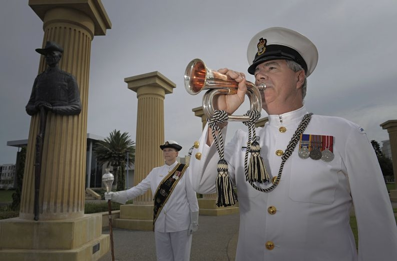 Chief Petty Officers Natalea Erskine and Ted Tait practise ahead of the Anzac Day services. Picture: Elle Borgward www.communitypix.com.au d399278