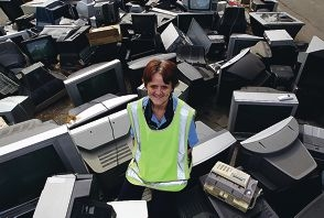 Waste Services Development Officer Judy Scott with some of the e-waste. Picture: Dominique Menegaldo www.communitypix.com.au d399483