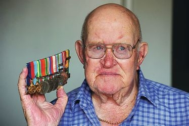 World War II veteran and Yokine resident David Lyle with his service medals.