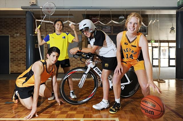 Corpus Christi College Year 11 students, from left, sprinter Matthew Pallotta (15), badminton player Phing Teo (16), triathlete Kurt Wesley (15) and basketballer Ashleigh Grant (15) . Picture: Marcus Whisson d399242